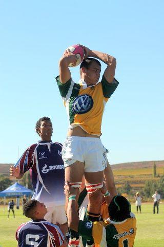 Rugbyspeler in aksie